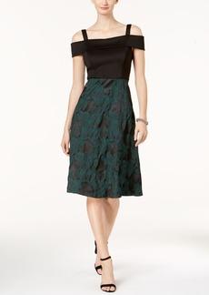 Donna Ricco Cold-Shoulder Fit & Flare Dress