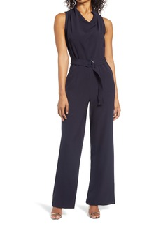 Donna Ricco Cowl Neck Jumpsuit with Belt