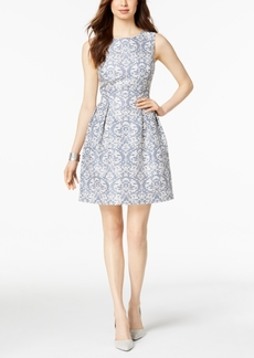 Donna Ricco Damask Jacquard Fit & Flare Dress