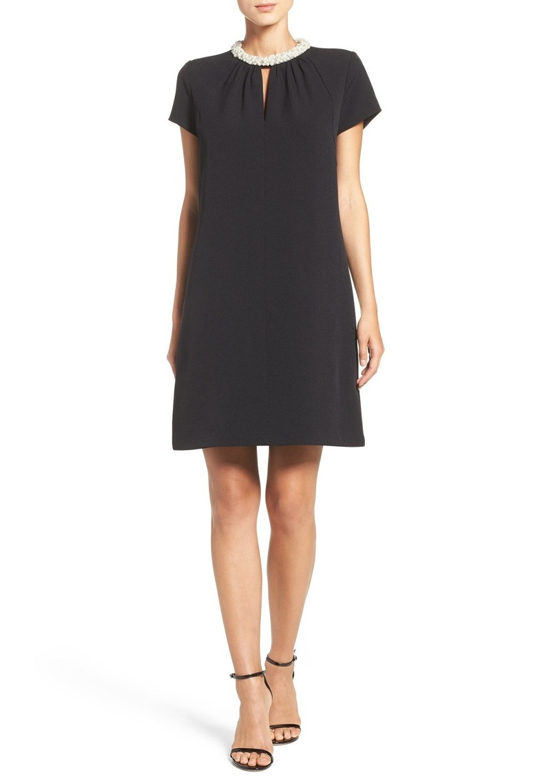 Donna Ricco Embellished Stretch Woven Trapeze Dress