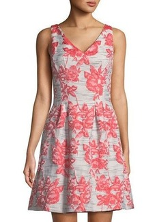 Donna Ricco Embroidered Fit-&-Flare Sleeveless Dress