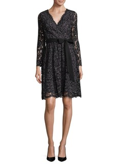 Donna Ricco Embroidered Lace Wrap Dress