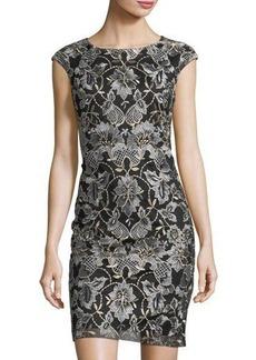 Donna Ricco Embroidered Mesh Bodycon Dress