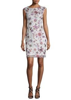 Donna Ricco Embroidered Mesh Sheath Dress