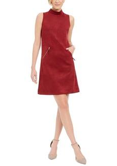 Donna Ricco Faux-Suede Mock-Neck Sheath Dress