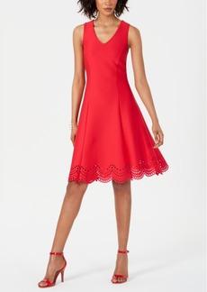 Donna Ricco Fit & Flare Lasercut-Hem Dress