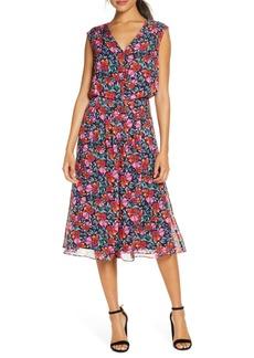 Donna Ricco Floral Blouson Chiffon Shirtdress