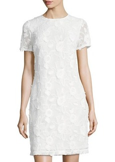 Donna Ricco Floral-Embellished Mesh Shift Dress