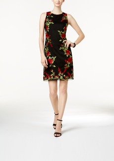 Donna Ricco Floral-Embroidered Mesh Dress
