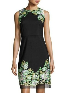 Donna Ricco Floral-Embroidered Sheath Dress