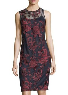 Donna Ricco Floral-Embroidered Shift Dress