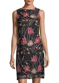 Donna Ricco Floral-Embroidered Sleeveless Dress