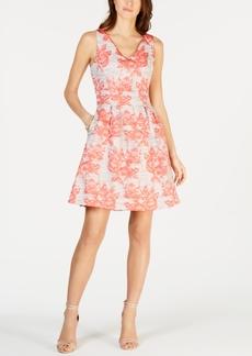 Donna Ricco Floral Jacquard A-Line Dress