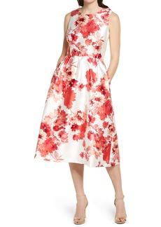 Donna Ricco Floral Mikado Fit & Flare Dress