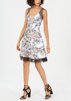 Donna Ricco Floral-Print Crochet-Trim Dress