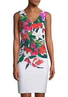 Donna Ricco Floral-Print Sleeveless Sheath Dress