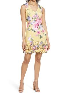 Donna Ricco Floral Ruffle Hem Sleeveless Scuba Sheath Dress