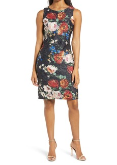 Donna Ricco Floral Scuba Sheath Dress