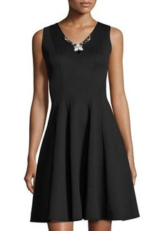 Donna Ricco Jewel-Embellished Fit & Flare Scuba Dress