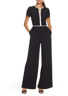 Donna Ricco Keyhole Wide Leg Crepe Jumpsuit