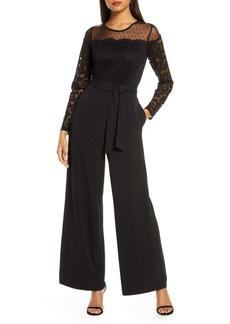 Donna Ricco Lace & Dot Mesh Wide Leg Jumpsuit