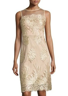 Donna Ricco Lace-Embroidered Mesh-Overlay Dress