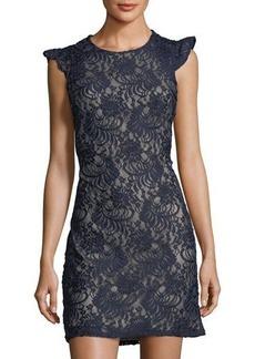 Donna Ricco Lace Sheath Flutter-Sleeve Dress