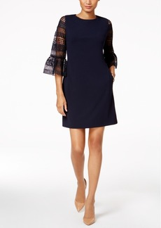 Donna Ricco Lace-Sleeve Sheath Dress