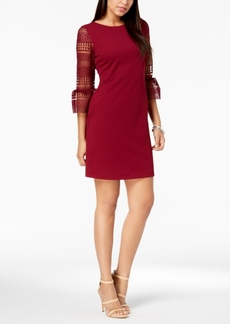 Donna Ricco Lace-Sleeve Sheath Dress