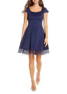 Donna Ricco Lace Trim Fit & Flare Dress