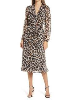 Donna Ricco Leopard Faux Wrap Long Sleeve Dress