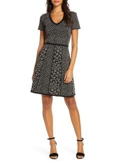 Donna Ricco Metallic Leopard Jacquard Sweater Dress