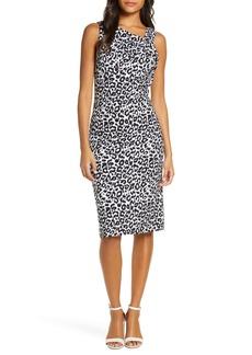 Donna Ricco Leopard Print Asymmetrical Neck Sheath Dress
