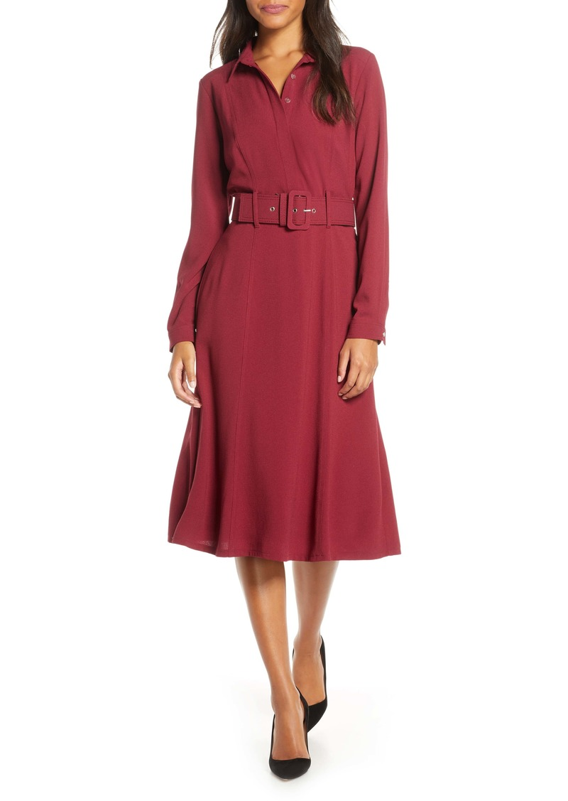 Donna Ricco Long Sleeve Belted Shirtdress