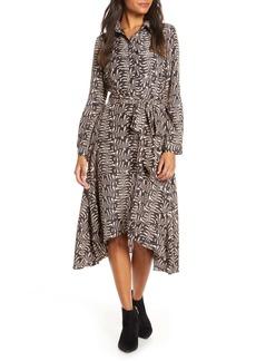 Donna Ricco Long Sleeve Geo Print Shirtdress