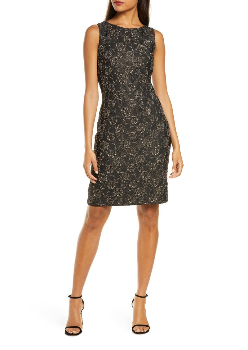 Donna Ricco Metallic Floral Brocade Cocktail Dress