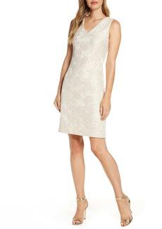 Donna Ricco Metallic Floral Brocade Sleeveless Dress
