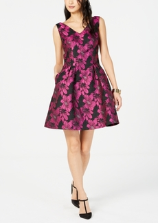 Donna Ricco Metallic Floral Fit & Flare Dress