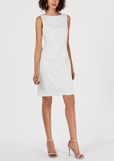 Donna Ricco Metallic-Jacquard Sheath Dress
