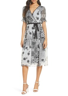 Donna Ricco Mixed Print Metallic Stripe Faux Wrap Dress