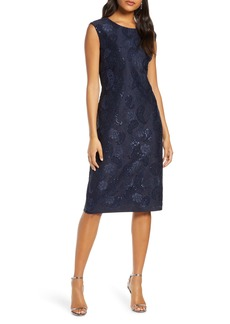 Donna Ricco Paisley Sequin Embroidered Lace Dress