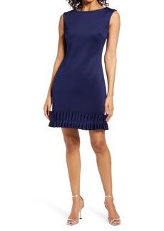 Donna Ricco Pleat Hem Scuba Sheath Dress