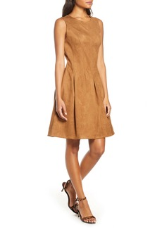 Donna Ricco Pleated Fit & Flare Faux Suede Dress