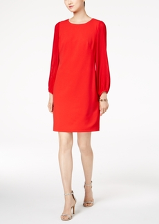 Donna Ricco Pleated-Sleeve Shift Dress