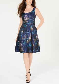 Donna Ricco Printed Brocade Fit & Flare Dress