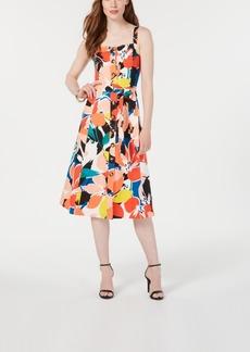Donna Ricco Printed Button-Down A-Line Dress