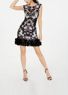 Donna Ricco Printed Dramatic-Ruffle-Hem Dress