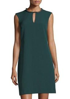 Donna Ricco Rhinestone Keyhole-Collar Shift Dress