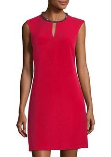 Donna Ricco Rhinestone-Trim Keyhole Sheath Dress