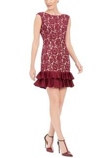 Donna Ricco Ruffle-Hem Lace Sheath Dress